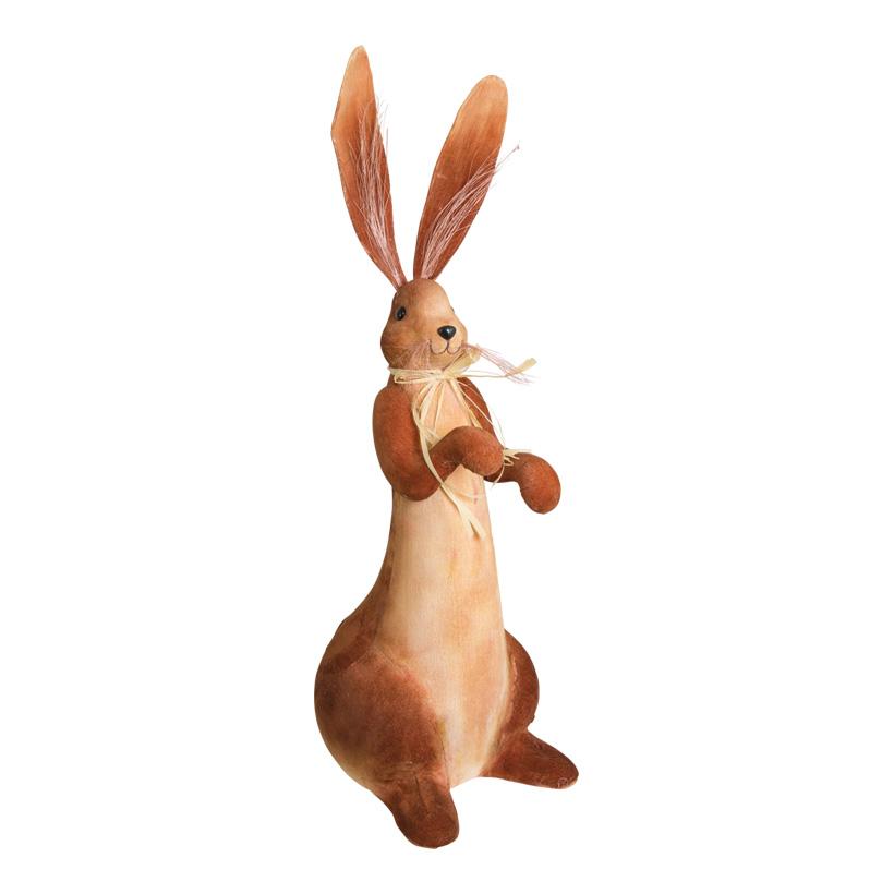 # Hase, stehend, 60x20x27cm, mit Bastschleife, Styrofoam mit Stoff überzogen