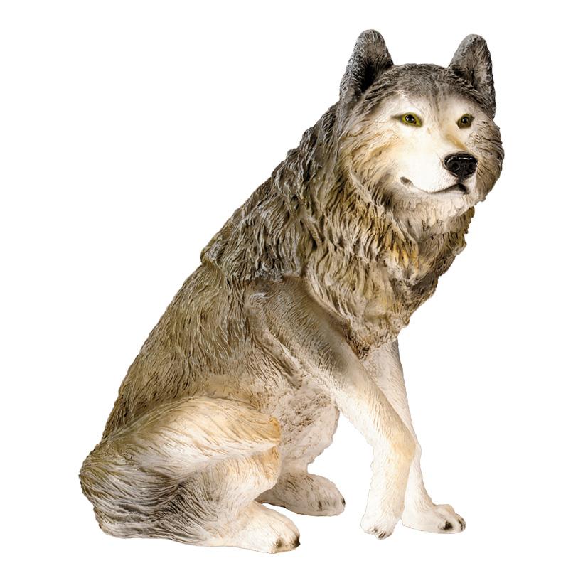 # Wolf, sitzend, 65x60x40cm, Kunstharz