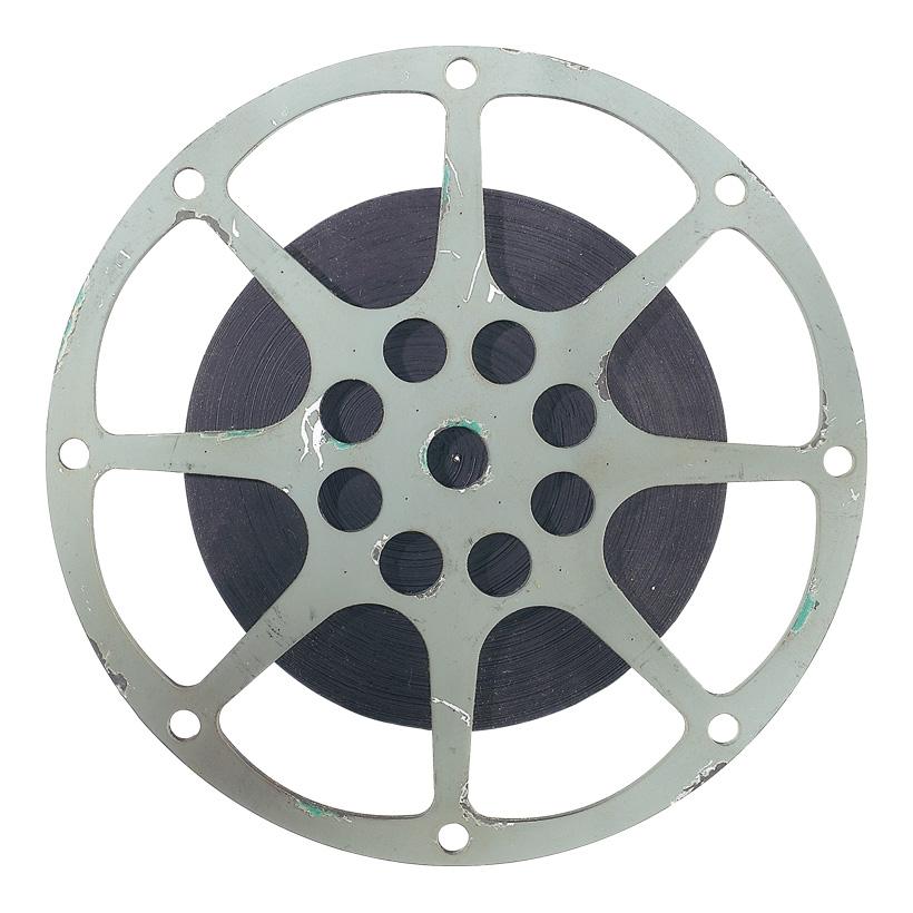 Filmspule, Ø 36cm, 2cm starkes Holz, mit Aufhängemöglichkeit