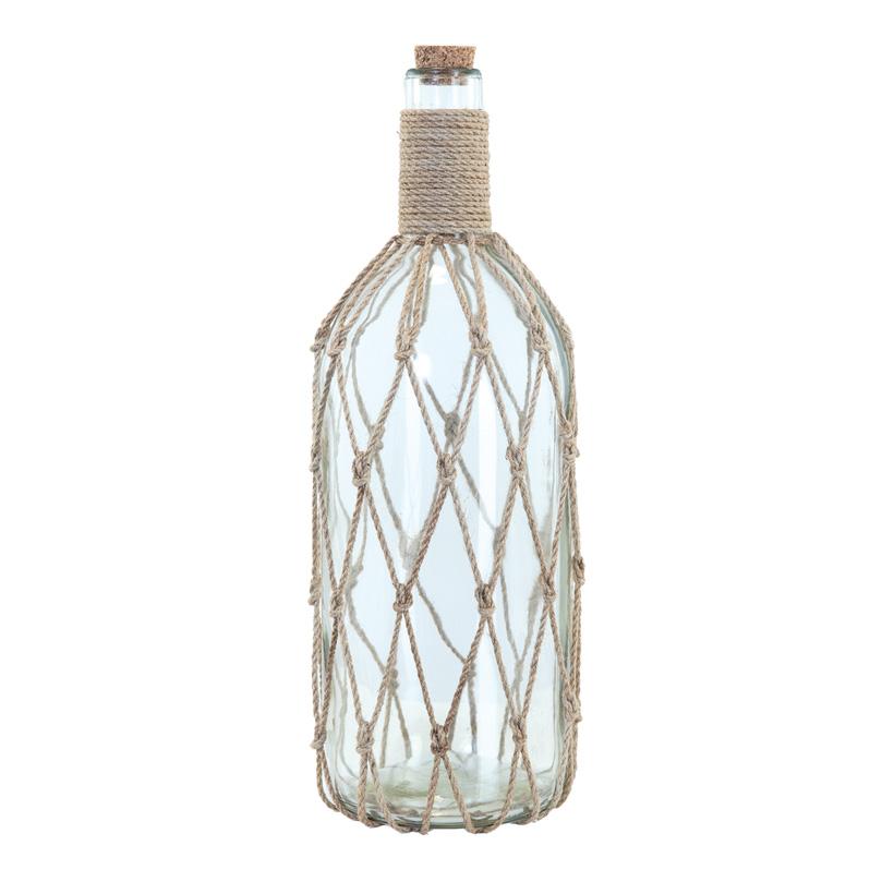Flaschenpost mit Korken, H: 38cm dekoriert mit Seil, aus Glas
