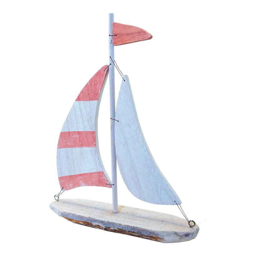 Segelboot, H: 40cm B: 38cm aus Holz