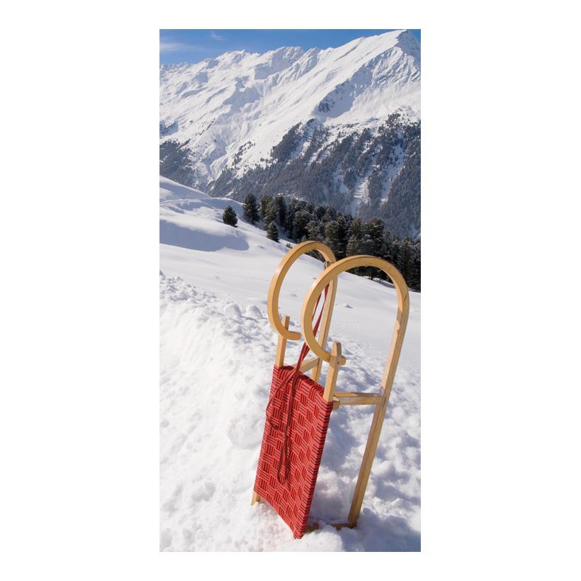 "# Motivdruck ""Roter Schlitten"", 180x90cm Stoff"