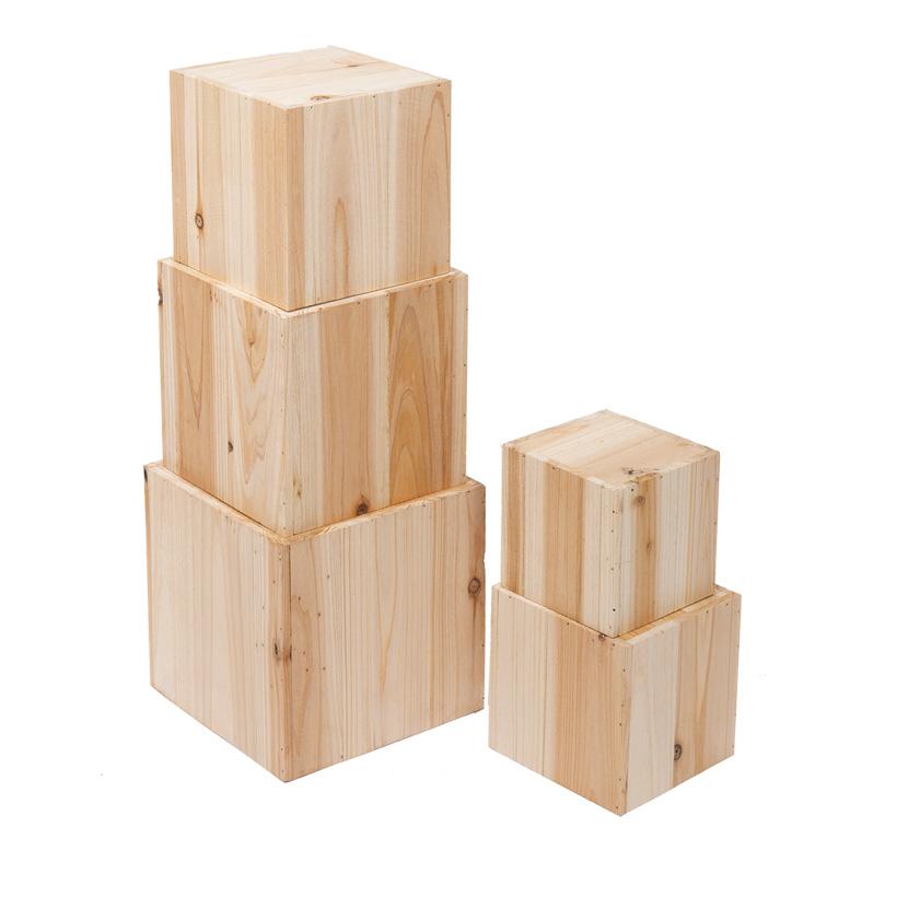 Holzboxen, quadratisch, 20cm, 18cm, 16cm, 14cm, 12cm, 5Stck./Satz, nestend, quadratisch