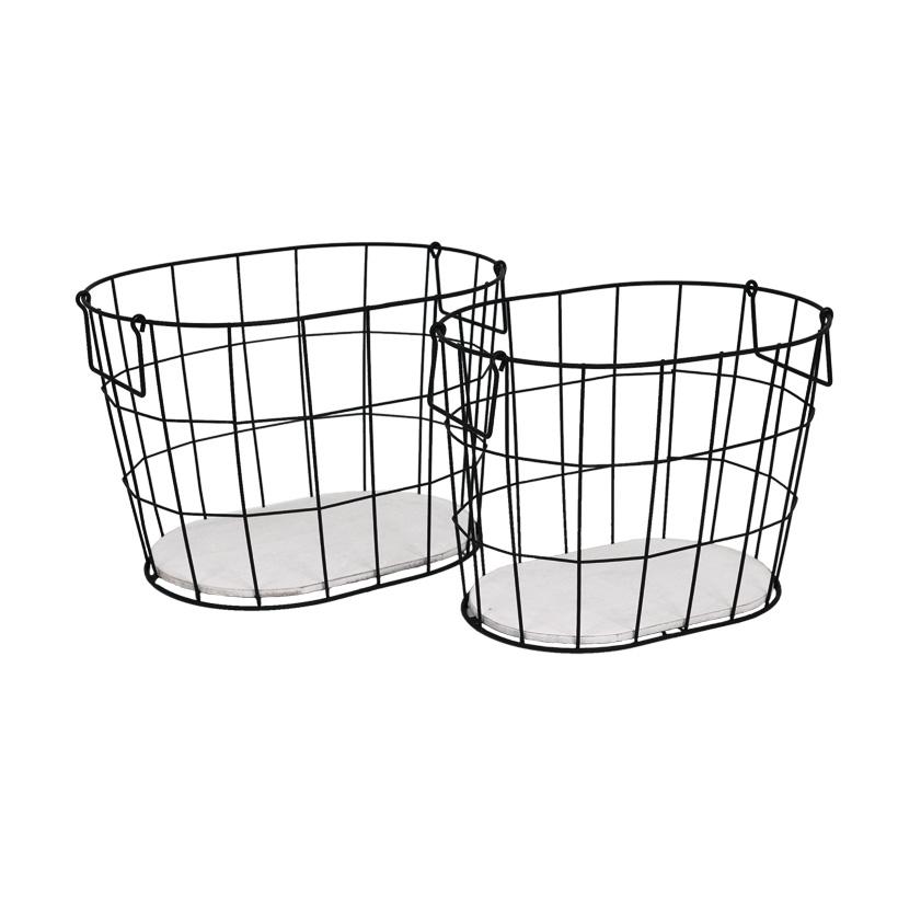 # Metallkörbe, 33x23x23cm + 36x26x24,5cm, 2er-Set, oval, mit Holzplatte & Griffen