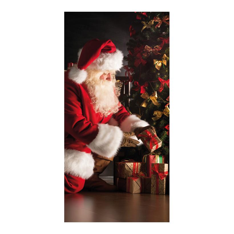 """# Motivdruck """" Weihnachtsmann mit Geschenken """", 180x90cm Stoff"""