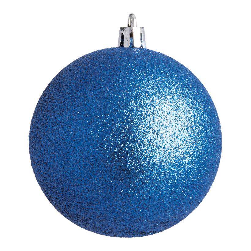 Weihnachtskugel, blau glitter, Ø8cm 6 St./Blister