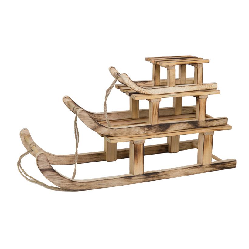 Holzschlitten, 42x15,5x9,5cm,+31x12x7,5cm, 20x8,5x6cm, 3tlg./Satz