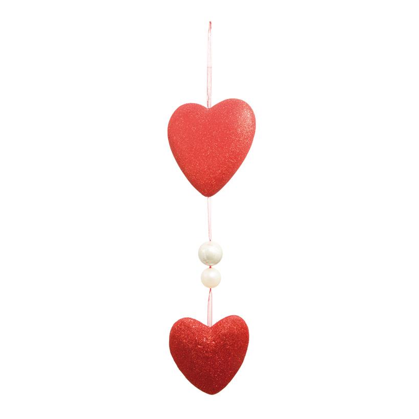 Herzkette, 80cm, 2-fach, 2 Perlen, Glitter, Styropor/Kunststoff