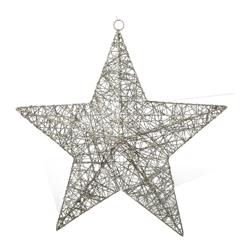 Stern, 3D, 30cm, beglittert, Metallrahmen mit Holzfaser umwickelt