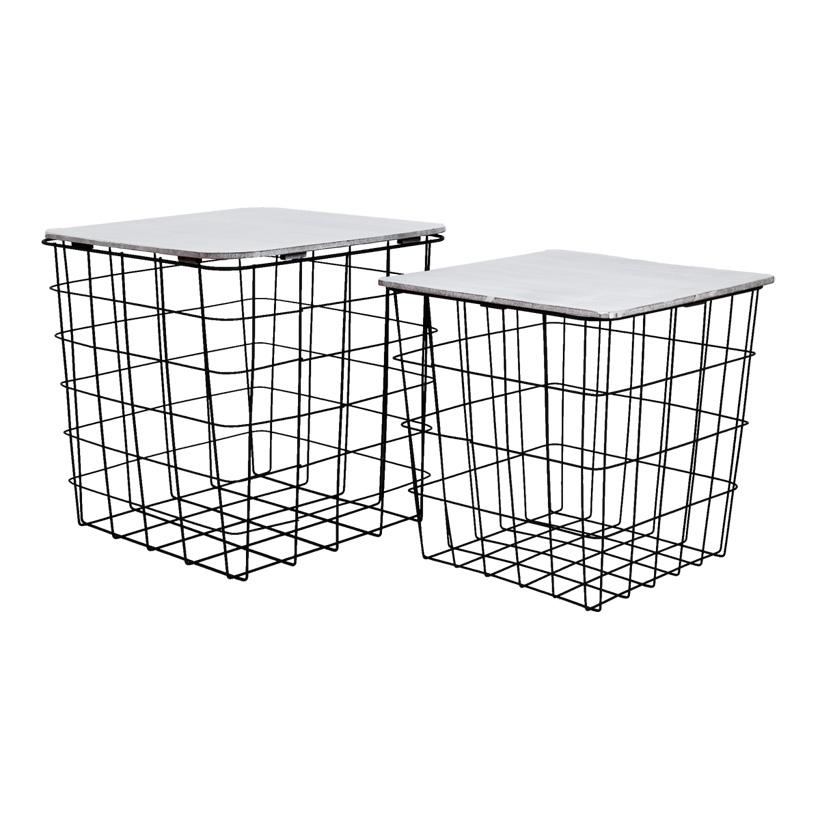 # Metallkörbe, 27x27x28cm 30,5x30,5x31cm 2er-Set, quadratisch, mit Holzplatte