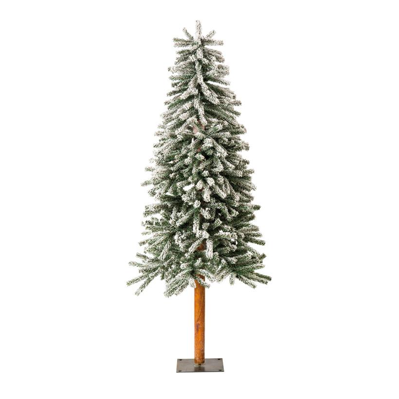 Tannenbaum, 120cm Ø50cm schlank, mit Metallfuß, beschneit, 395 Tips, mehrteilig