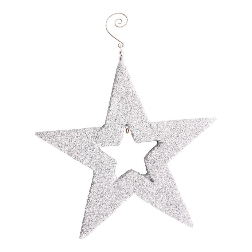 Stern, 20x20x2cm aus Styropor, mit Hänger, mit Glitter