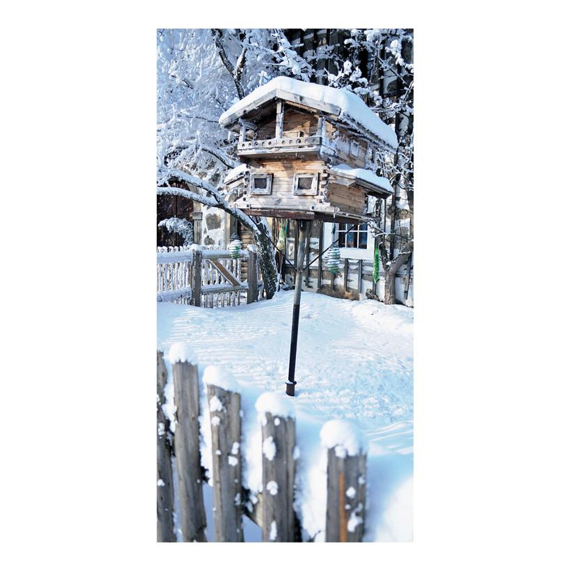"""# Motivdruck """"Vogelhaus im Schnee"""", 180x90cm Papier"""