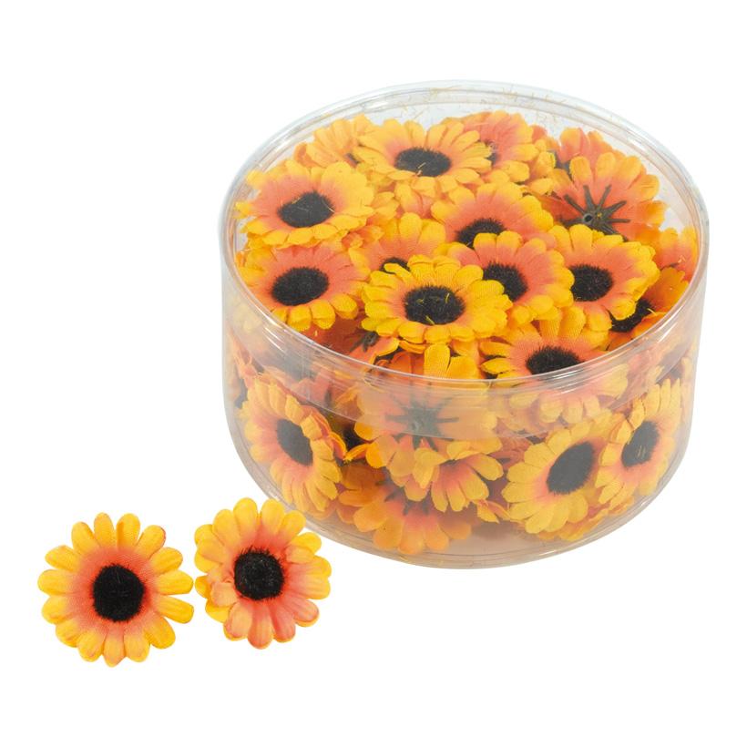 Sonnenblumenköpfe, Ø 3cm, 100Stck./Blister, Kunstseide
