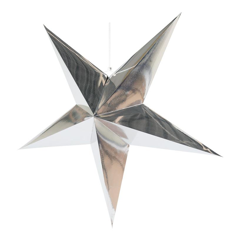 Faltstern, 5-zackig, Ø60cm aus Pappe, mit Hänger