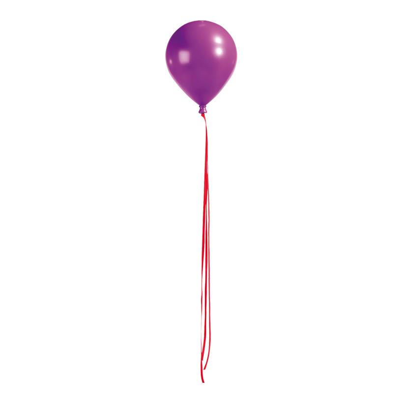 Ballon mit Hänger, Ø 20cm, 25,5cm, mit Bänder: 100cm, Kunststoff