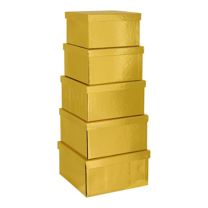 Boxen, 20x20x11,5cm - 26x26x13,5cm, 5 Stk./Satz, quadratisch, nestend, Pappe
