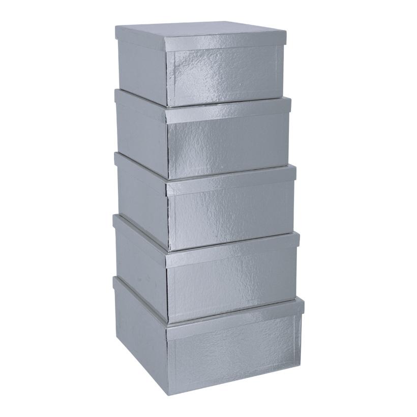 Boxen, 27,5x27,5x14cm - 33,5x33,5x16cm, 5 Stk./Satz, quadratisch, nestend, Pappe