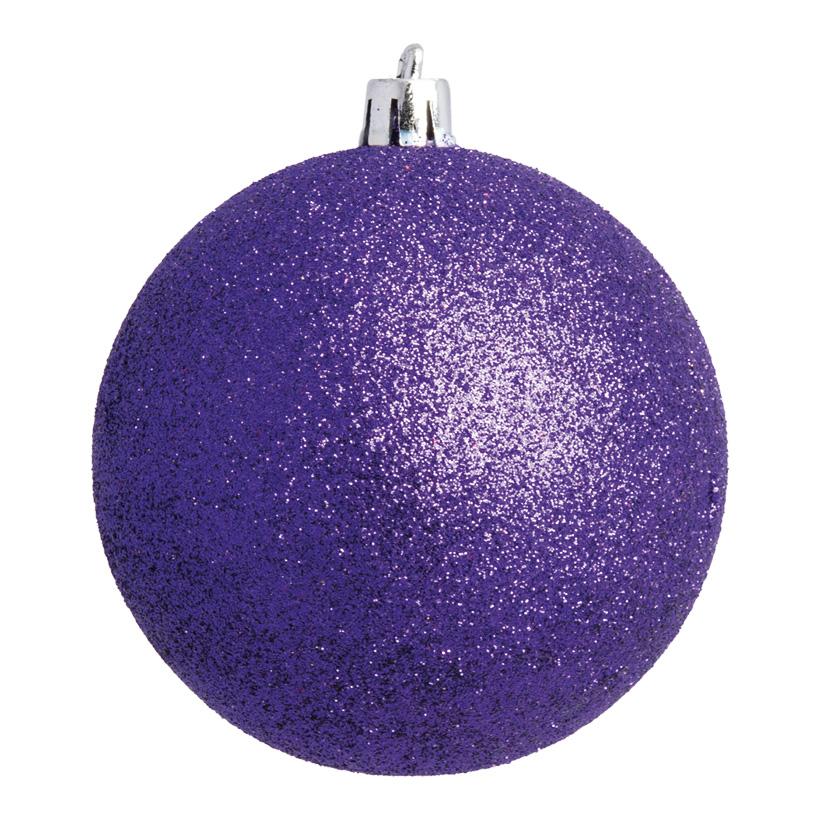 Weihnachtskugel, violett glitter, Ø 8cm 6 St./Blister