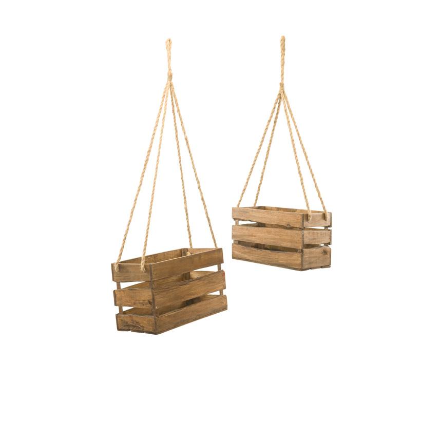 Pflanzkörbe, 30x20x15cm 40x25x20cm im 2er-Set, mit Hänger, aus Holz