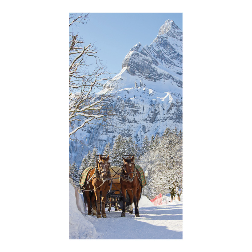 "# Motivdruck ""Pferdeschlitten"", 180x90cm Stoff"