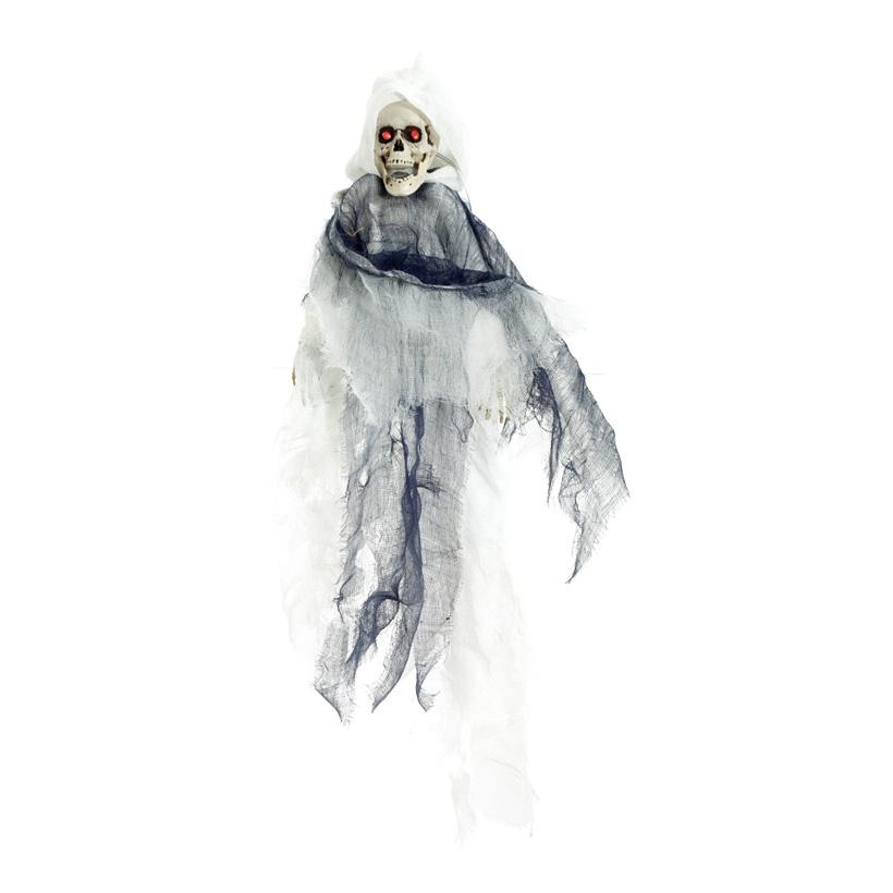 Skelett, 45x50cm, bewegliche Arme, macht Geräusche, Augen blinken, 3x AA Batterien (nicht inkl.)