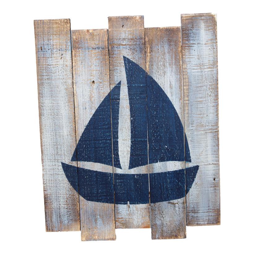 Paneel mit Boot, 40x50cm, Holz Vintage, mit Aufhängung