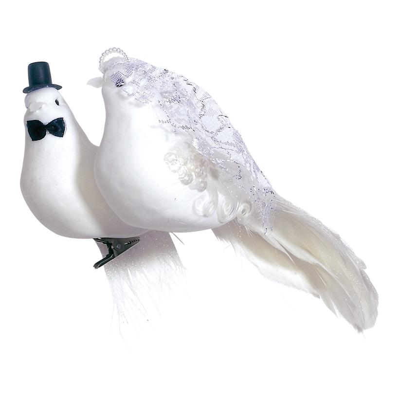 # Taubenbrautpaar 22x12x9 cm Schaum/Federn, mit Clip zur Befestigung
