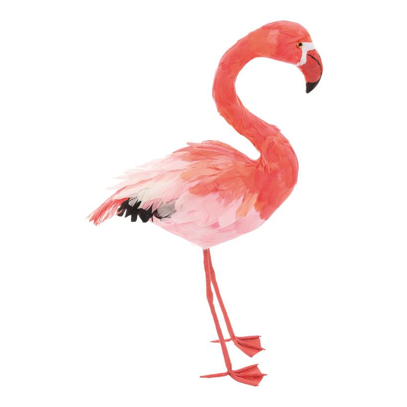 # Flamingo, Kopf oben, 63x33cm, Styropor mit Federn