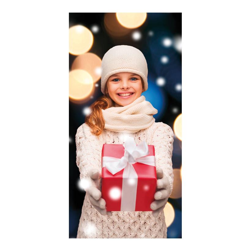 """# Motivdruck """"Mädchen und Geschenk"""", 180x90cm Stoff"""