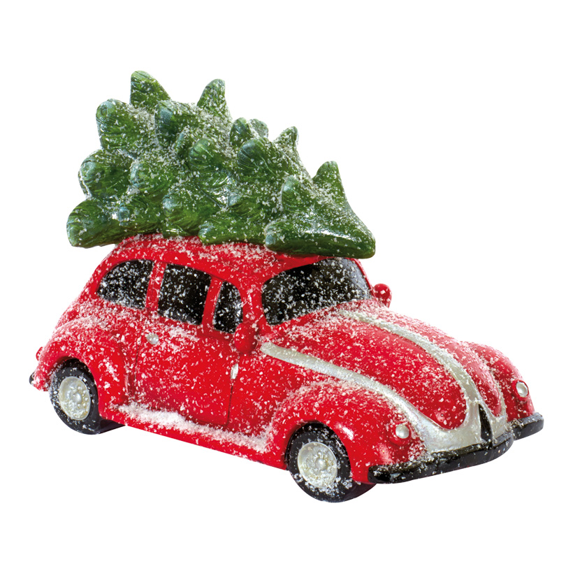 Deko-Auto 41x22x27cm, mit Weihnachtsbaum, Polymagnesium, leicht beschneit