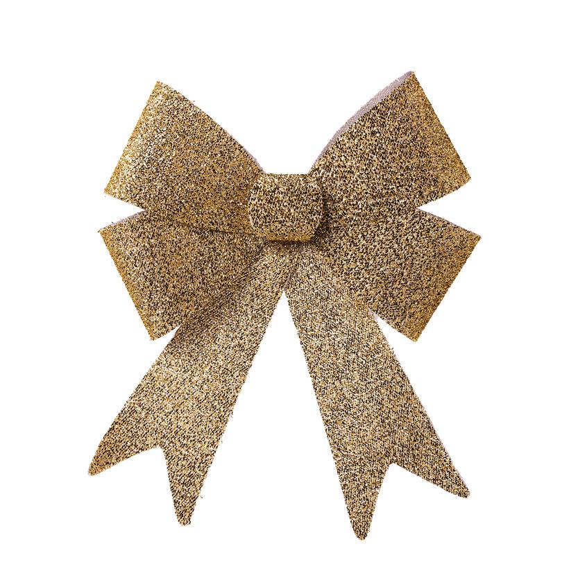 Schleife mit Glitter, 50x38x9cm Vorderseite mit Tinselüberzug, Rückseite glatt, aus Kunststoff