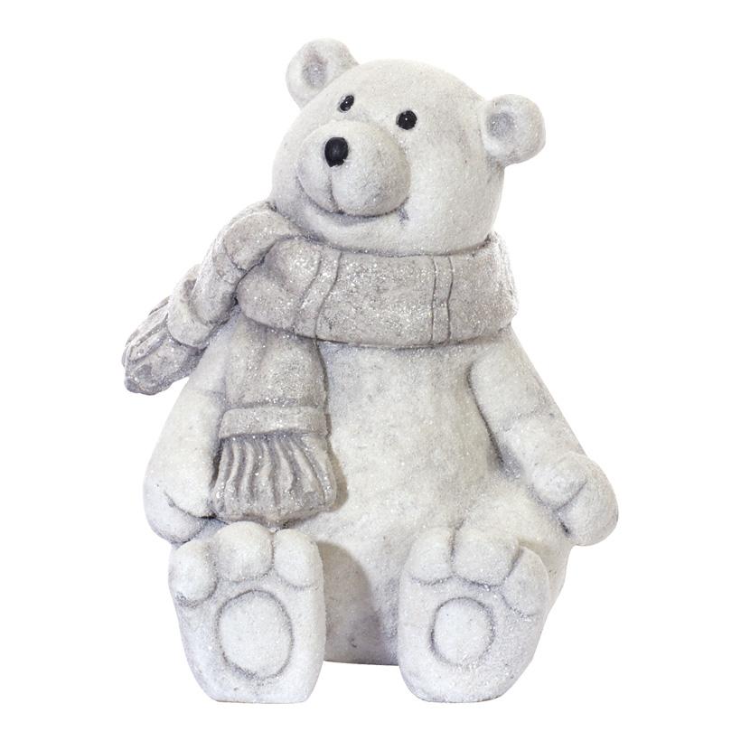 Eisbär mit Schal, 35x30x30cm, sitzend, Polymagnesium, leicht beglimmert