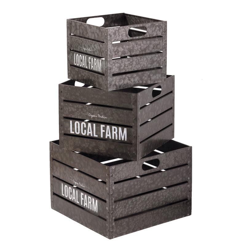 "# Metallkiste, 27x27x23cm-40x40x28cm 3er-Set, mit Schriftzug ""Local Farm"""