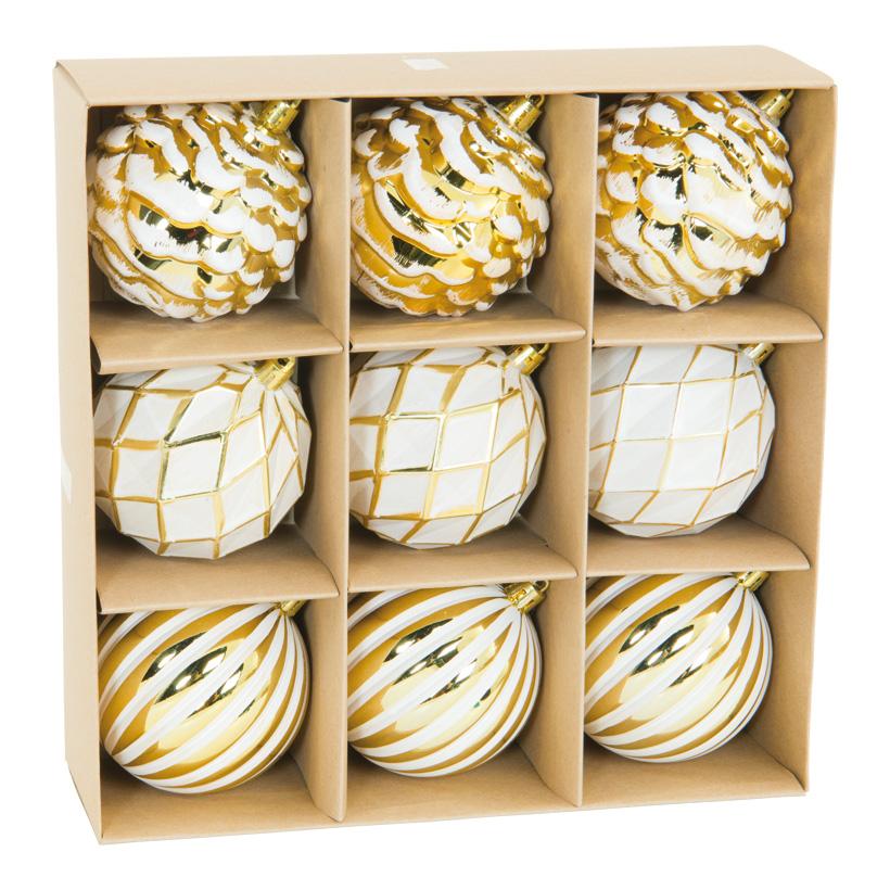 Weihnachtskugeln Ornamente, 8cm 9 Stk. aus Kunststoff, sortiert, im Blister mit Sichtfenster