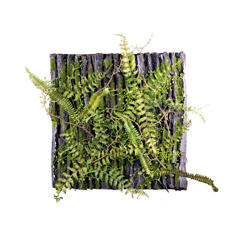 Schaumstoffplatte, 50x50cm Oberfläche in Baumrindenoptik, bemoost und dekoriert