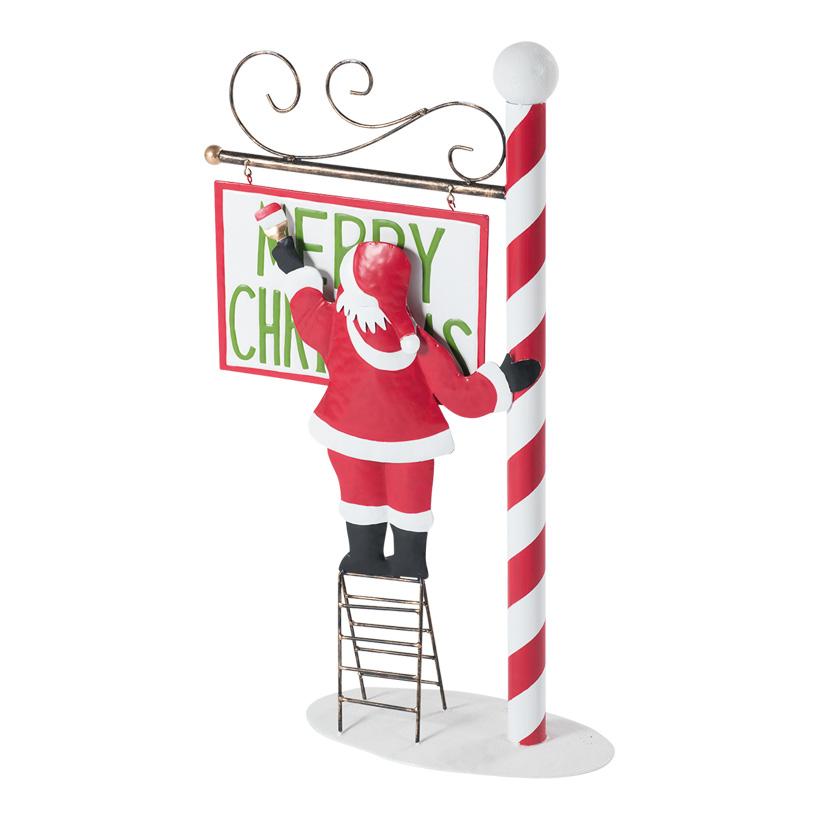 """Schild """"Merry Christmas"""", 92x52cm mit Weihnachtsmann auf Leiter, aus Metall"""