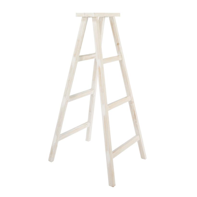 # Doppelleiter, 126x67cm, Holz, mit 3 Stufen, white wash