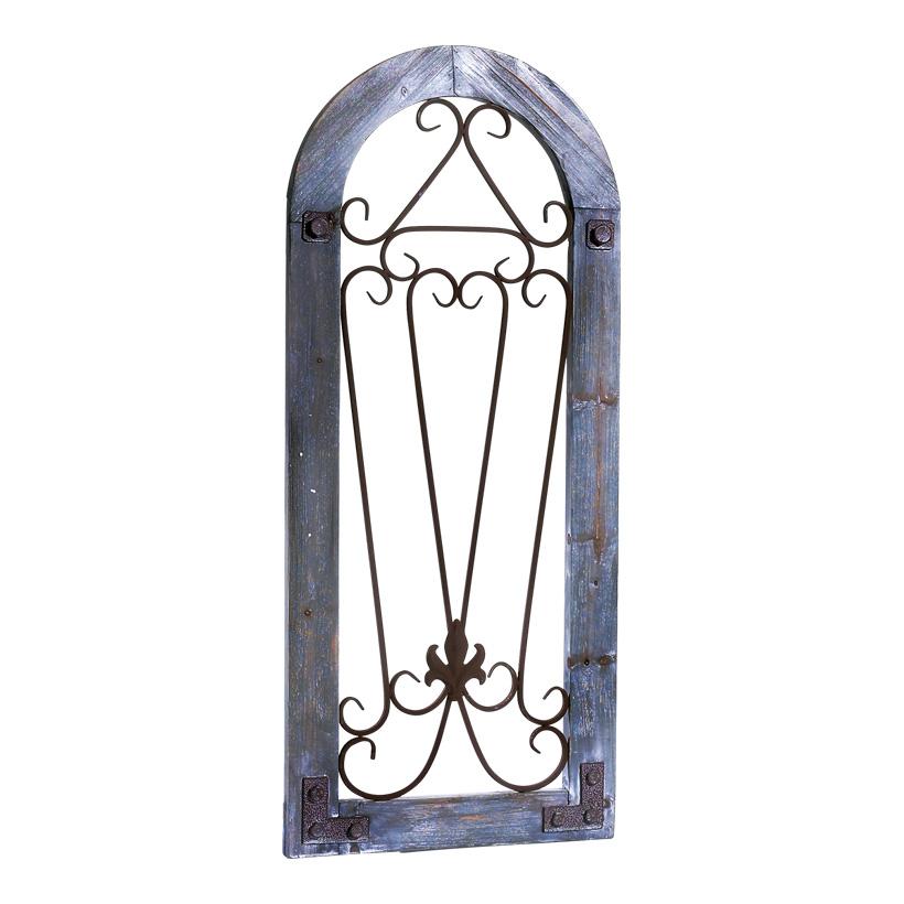 """# Fensterrahmen """"Cadiz"""" 95x41 cm (H/B) Holz/Metall, halbrund, mit Metallbeschlägen und zwei Aufhängungen"""