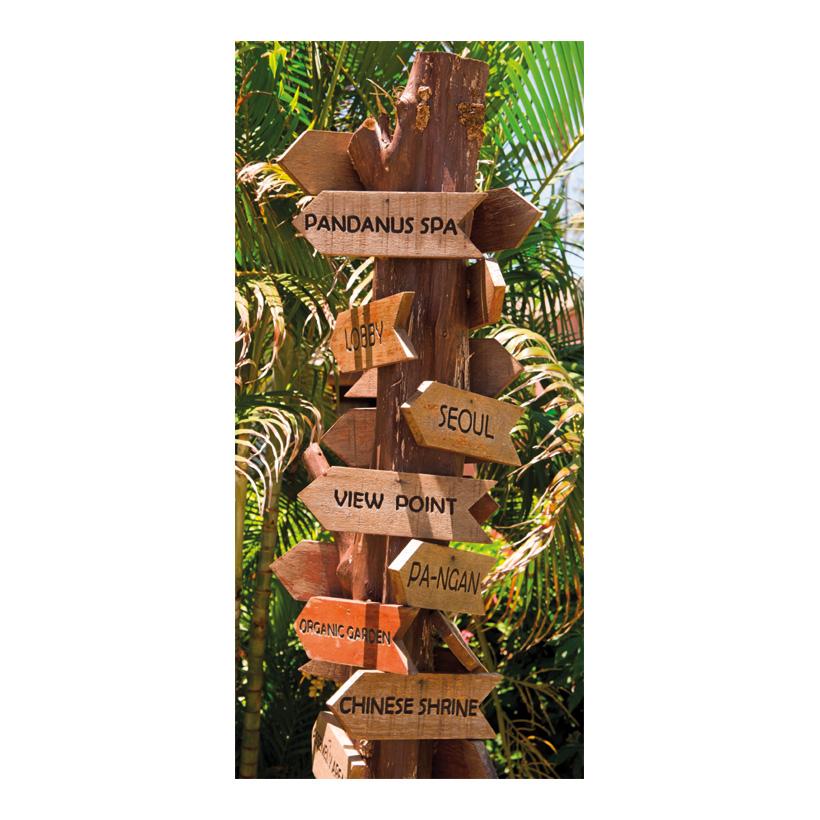 """# Motivdruck """"Wegweiser im Dschungel"""", 180x90cm Stoff"""