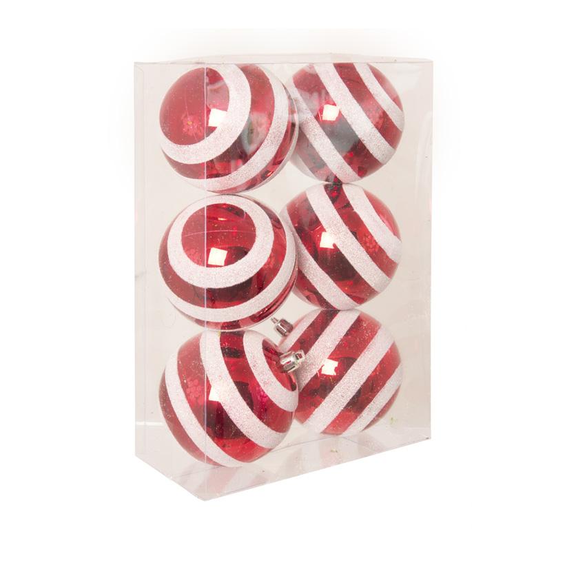 Weihnachtskugeln, rot/weiß/glitter, Ø 8cm, 6 St./Blister