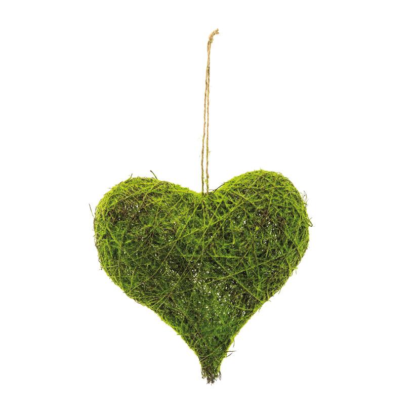 Herz aus Flechtwerk, H: 30cm B: 30cm künstlich bemoost