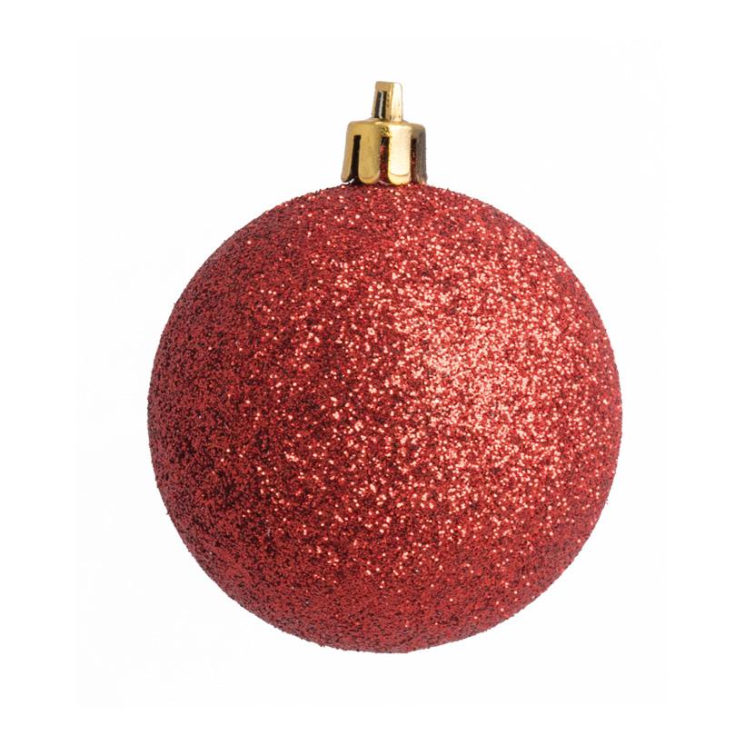 Weihnachtskugel, rot beglittert, Ø 8cm 6 St./Karton