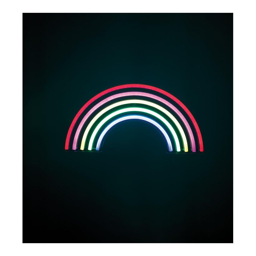 """LED-Motiv """"Regenbogen"""" 38x19cm mit Ösen als Wandbefestigung, für den Innenbereich, 2m Zuleitung, mit USB-Anschluss, ohne Stecker"""