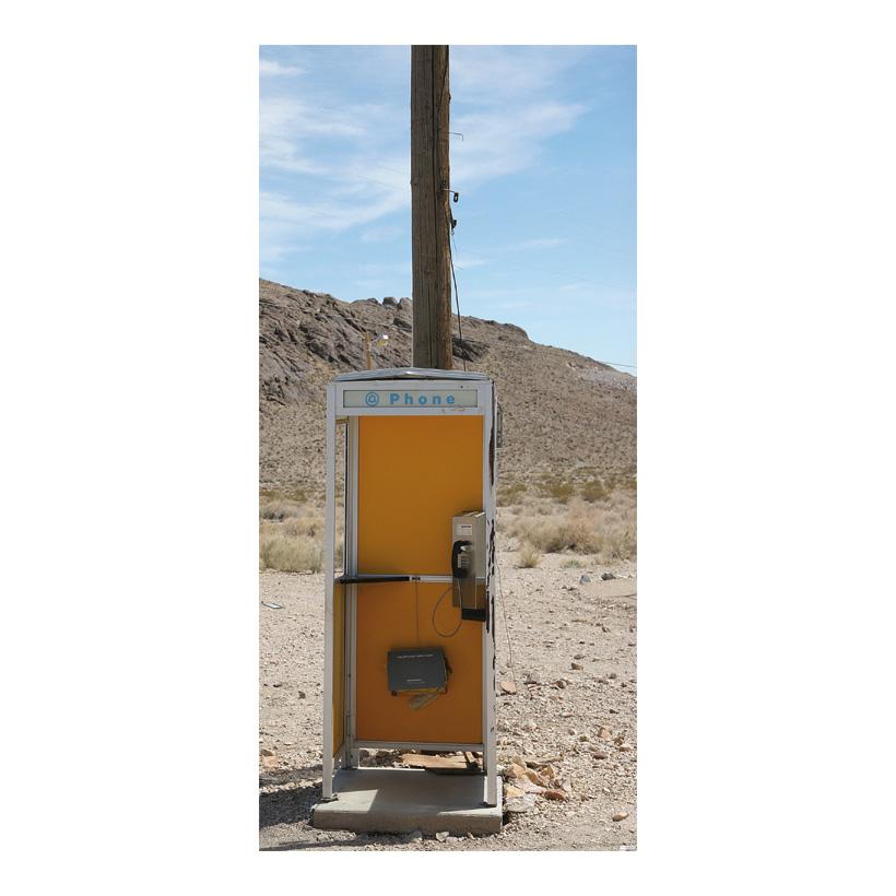 """# Motivdruck """"Telefonzelle in der Wüste"""", 180x90cm Papier"""
