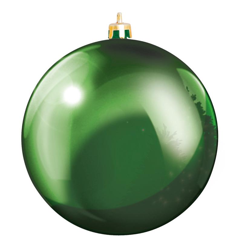 Weihnachtskugel, Grün, Ø 8cm, 6 Stk./Blister, aus Kunststoff, Schwer entflammbar nach B1, UV-beständig