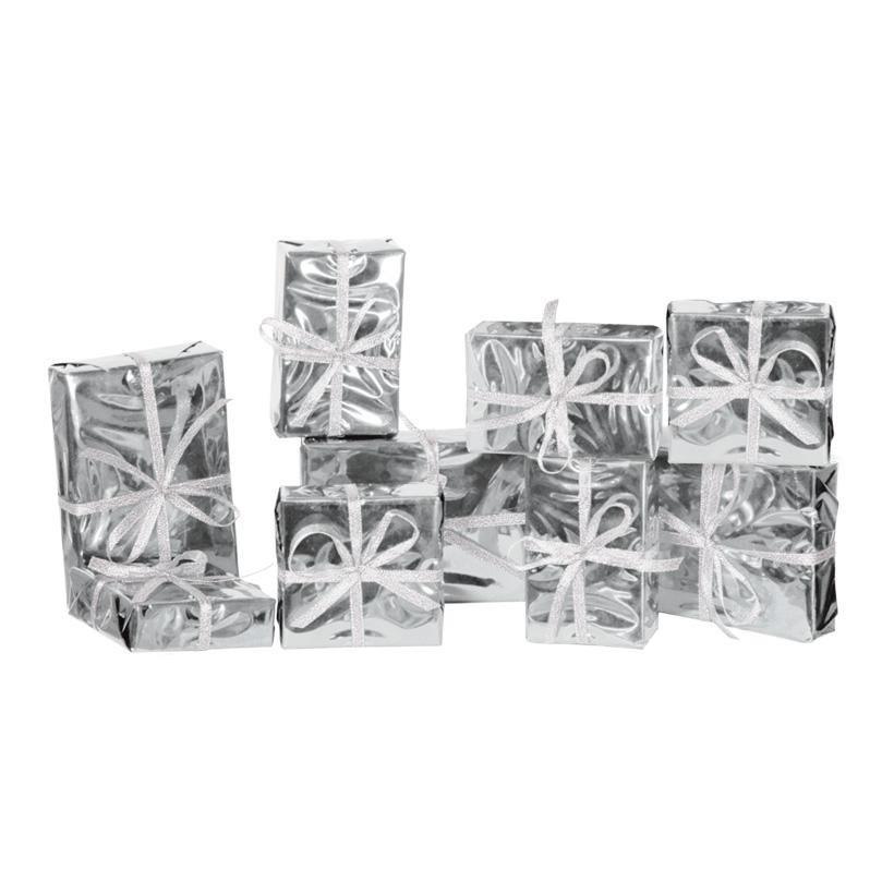 Geschenkpäckchenset, 9-tlg., je 3Stck.: 9x9x3cm, 11x7x4cm, 15x10x3cm, Styrofoam/Folie