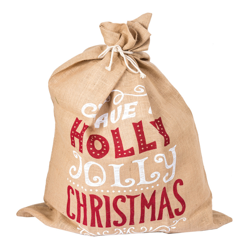 Jutesack, 80x100cm bedruckt, Holly Jolly Christmas
