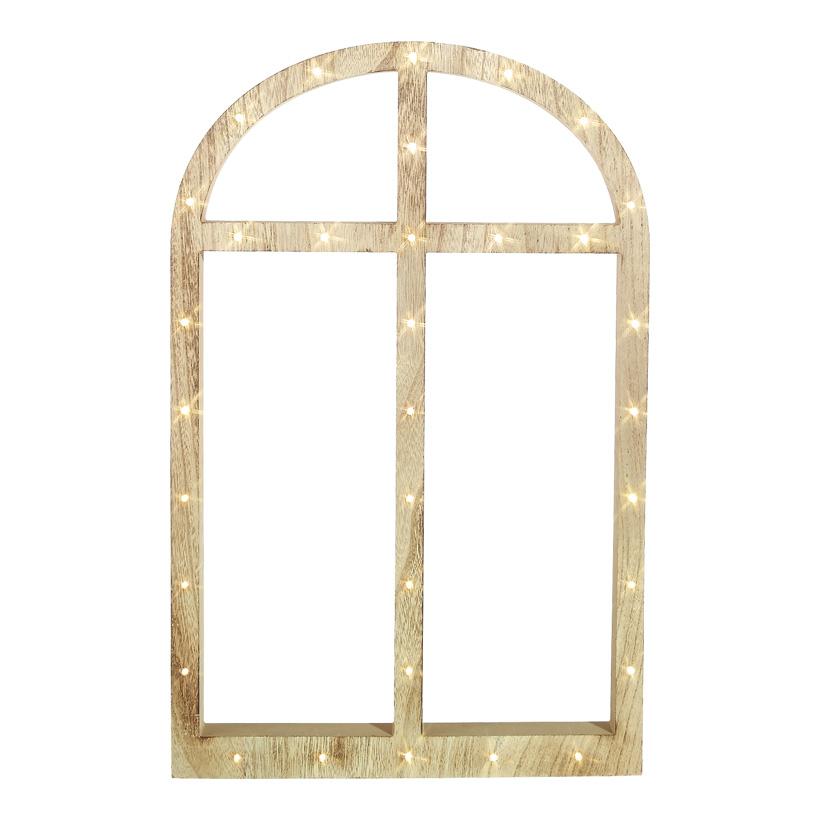 Fensterrahmen 66x42x2,5 cm Holz mit 33 LED's, Batteriebetrieb 2xAAA