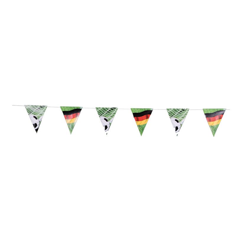 """# Wimpelkette """"Deutschland"""" 300cm 2-seitig bedruckt, DE-Flagge & Fußball, aus Papier, schwer entflammbar"""
